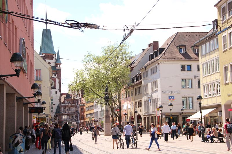 Kaiser-Joseph-Street Freiburg with Bertold's Fountain