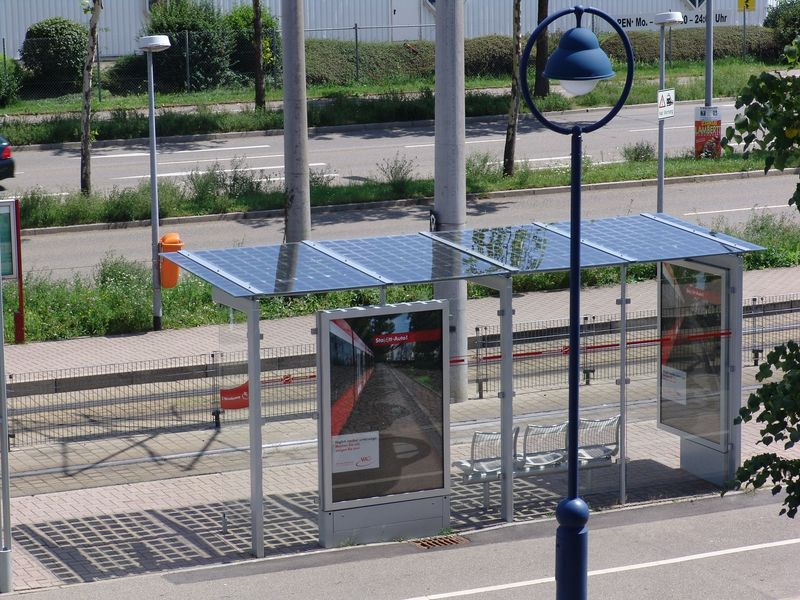 Tram stop with solar energy system on its roof