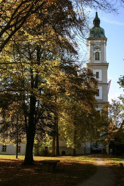 Blick auf den Kirchenturm - Kloster und Kirche Neustift