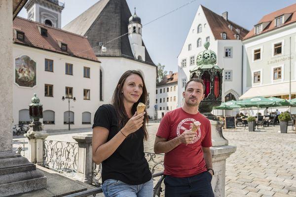 Pause am Marienplatz in Freising