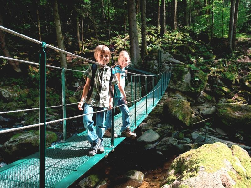 Kinder auf der Hängebrücke in der Buchberger Leite bei Freyung im Bayerischen Wald