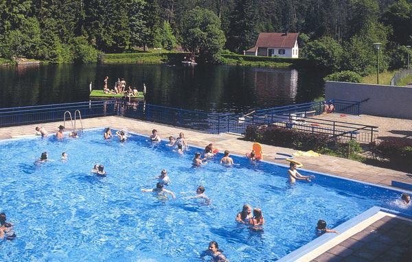 beheiztes Schwimmbecken mit Seeblick
