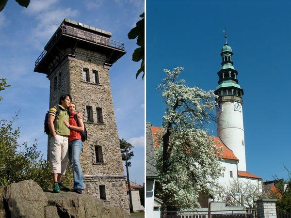 Wanderer beim Aussichtsturm auf dem Cerchov (links) und der Stadtturm von Domazlice (rechts)