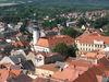 Blick von oben auf die böhmische Stadt Domazlice im Chodenland