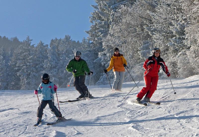 Wintererlebnis beim Alpinskifahren im Skigebiet Hohenbogen