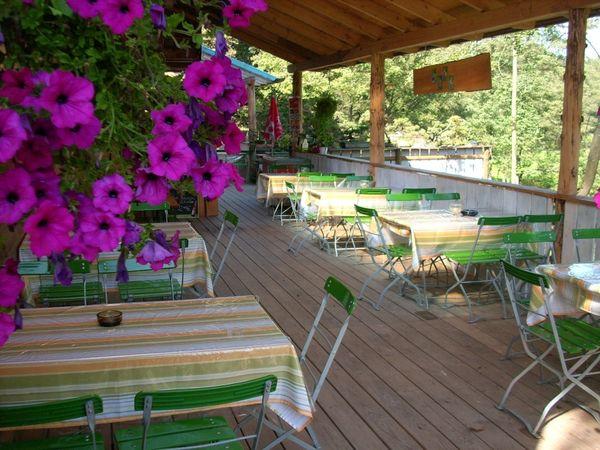 Die Terrassenwirtschaft zum Geianest im Greifvogelpark Grafenwiesen
