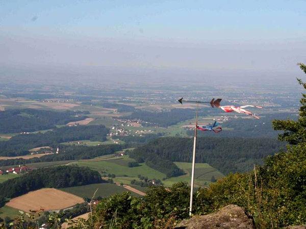 Blick vom Drachenfliegerstartplatz auf dem Büchelstein ins Tal