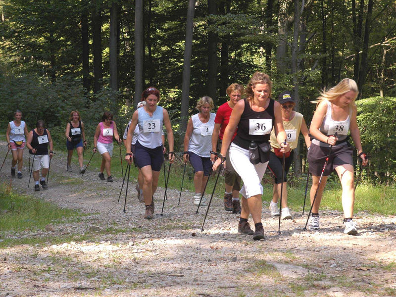 Wanderer auf einem Rundkurs im Nordic Walking Zentrum in Grattersdorf im Sonnenwald unterwegs