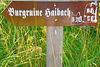 Wegweiser zur Burgruine Haibach auf dem Hofberg