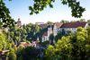 Blick vom Haigerlocher Kapffelsen auf das Schloss und den Römerturm