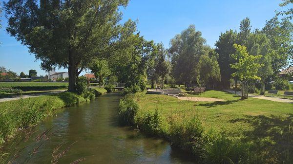 Blick in den Goldachpark in Hallbergmoos