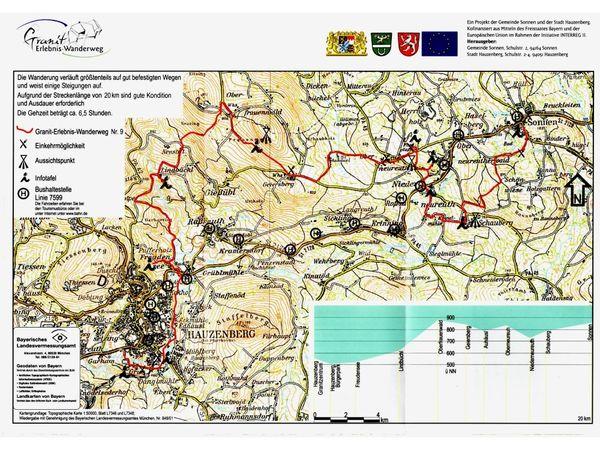 Streckenverlauf des Granitwanderweges von Hauzenberg nach Sonnen