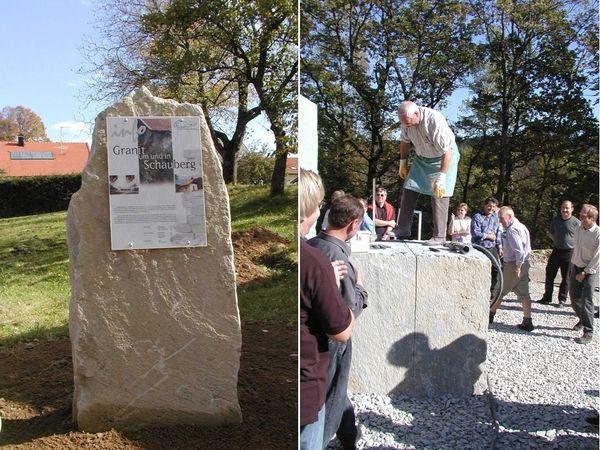 Infotafeln (links) und Granitbearbeitung auf dem Granit-Erlebniswanderweg