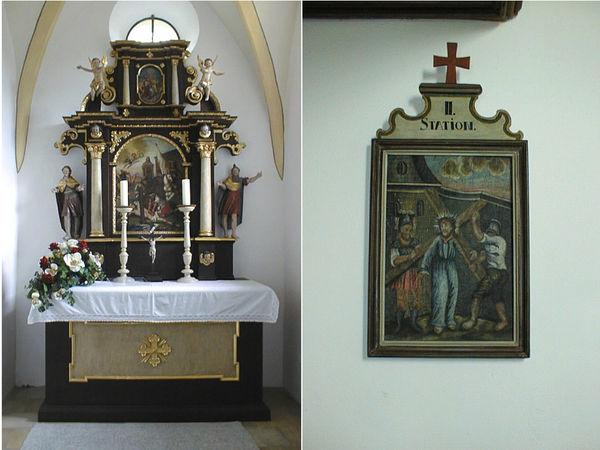 Frühbarocker Hochaltar (links) und Kreuzwegstation (rechts) in der Erasmus-Kapelle in Buchberg