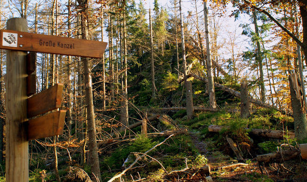 Wegweiser im Felswandergebiet in der Umgebung der Ortschaft Schönbrunn a. Lusen