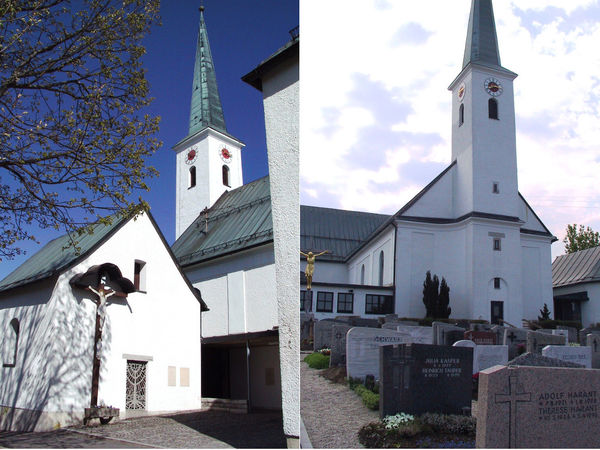 Blick auf die katholische Pfarrkirche ST. PETER und PAUL in Hohenau