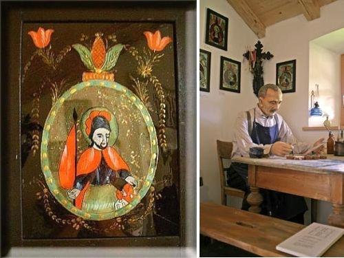 Hinterglasbild (links) und Hinterglasmaler in der Raimundsreuter Ausstellung
