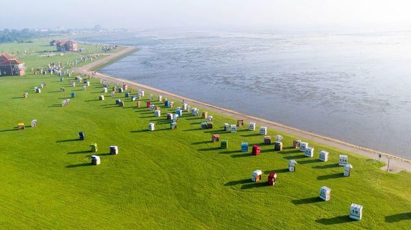 Strandgelände in Horumersiel aus der Luft