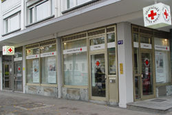 Das DRK Infocenter Ecke Werderstraße gegenüber dem Tullabad.