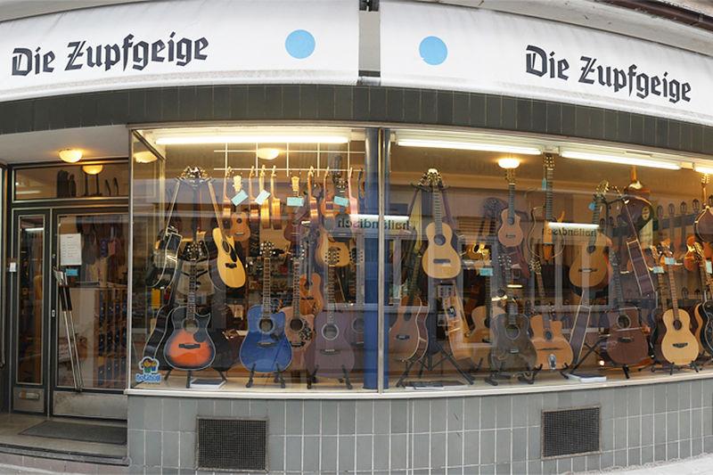 Die Zupfgeige, Gitarren und Werkstatt in Karlsruhe von außen.