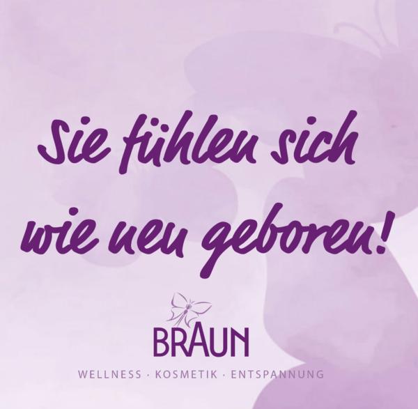 Kosmetik Braun Slogan