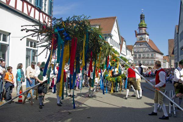 Maibaum auf dem Marktplatz in Kirchheim unter Teck