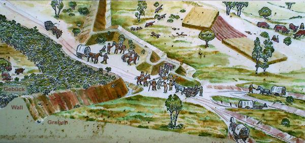 Hohlweggasse am Krombacher Schlag (Skizze: LWL-Archäologie für Westfalen)