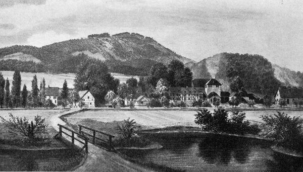 Königliche Hüttenwerk Lohe im 19. Jh. - Lithographie von Jacob Scheiner