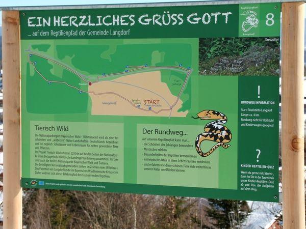 Info-Tafel auf dem Reptilien-Pfad in Langdorf im ArberLand Bayerischer Wald