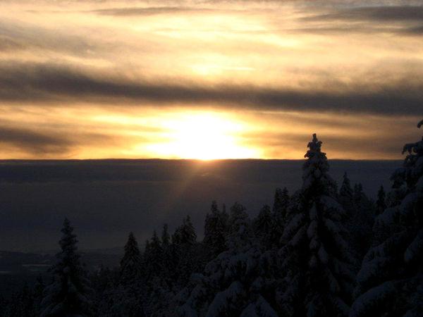 Traumhafter Wintersonnenuntergang im Bayerischen Wald