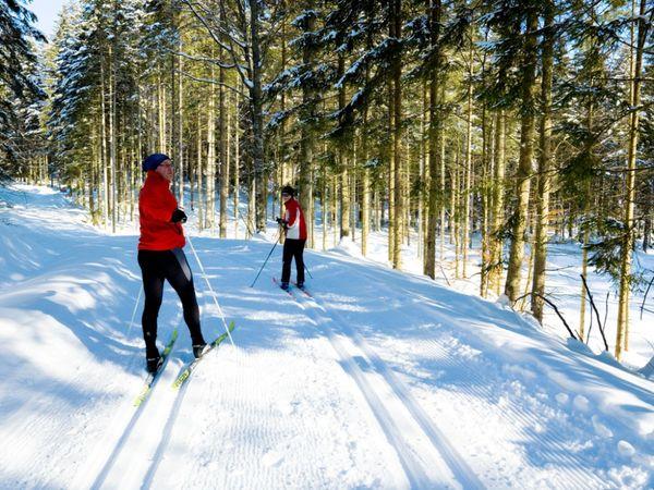 Skiwandern in bestens präparierten Loipen durch die verschneiten Wälder im Bayerischen Wald