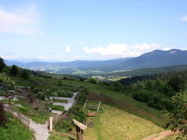 Herrliche Aussicht vom Berggasthof Mooshütte über den Bayerischen Wald