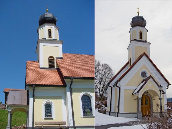 Blick auf das ST. ANNA Kircherl in Thürnstein im Sommer (links) und im Winter (rechts)