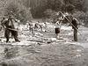 Historische Aufnahme: Arbeiter mit Floßhacken bei der Holztrift im Lamer Winkel/Bayerischer Wald.