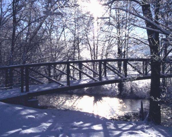 Brücke zum Seepark in Arrach über den Weißen Regen im Winter