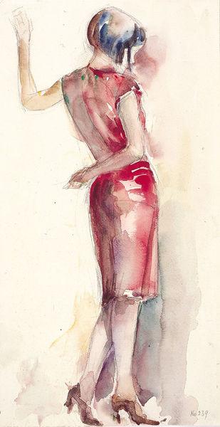 """""""Die Dame in Rot"""" ist zu sehen im Berta-Hummel-Museum im Hummelhaus in Massing."""