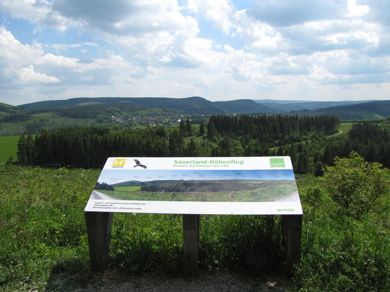 Panoramatafel des Sauerland Höhenflugs am Hillekopf
