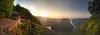 Panorama auf die Saarschleife und den Aussichtspunkt Cloef