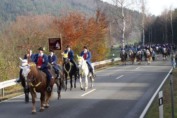 Reiter auf festlich geschmückten Pferden beim Martiniritt in Miltach (Urheber: Erwin Vogl)