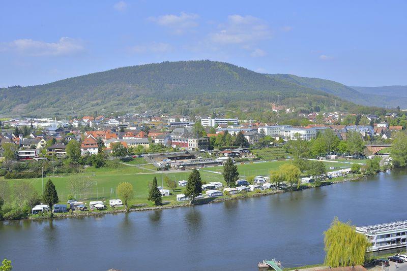 Blick auf den Campingplatz Mainwiese in Miltenberg