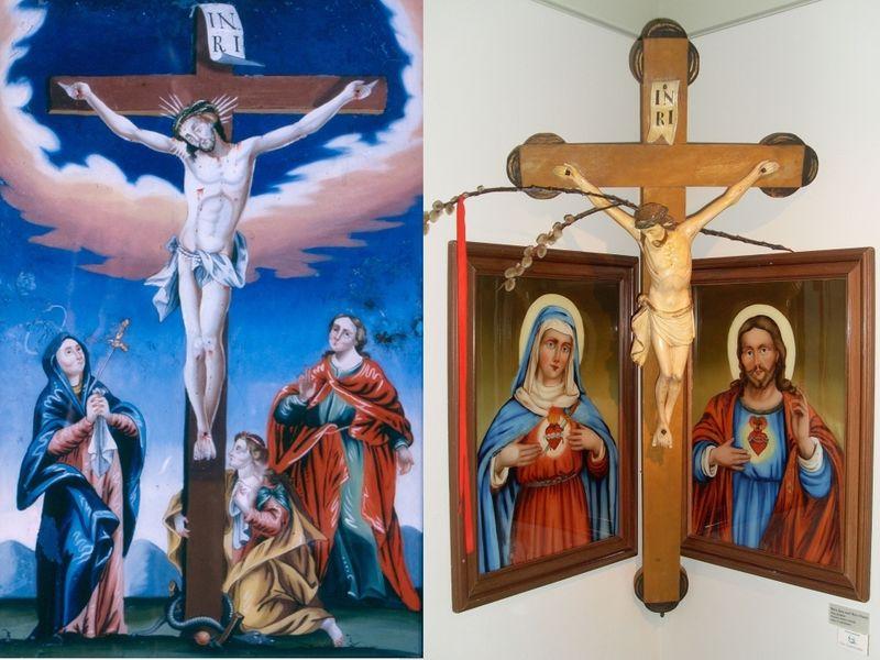 Hinterglasbild Kreuzigung (links) und Herrgottswinkel (rechts) im Wallfahrtsmuseum in Neukirchen b.Hl.Blut