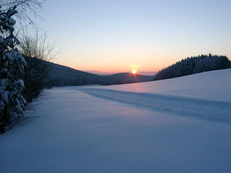 Die Sonnenuntergangloipe im Langlaufzentrum Neurittsteig, Hamry/Lamer Winkel