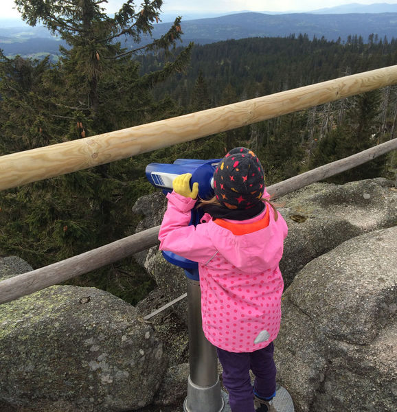 Auch Kinder sind vom Ausblick am Dreisessel fasziniert