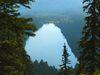 Blick vom Plöckenstein auf den Plešné jezero (deutsch: Plöckensteinsee) im Böhmerwald