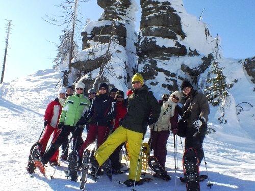 Schneeschuhwandergruppe in den Hochlagen des Dreisessel