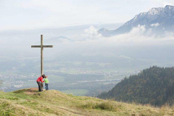 Gipfelkreuz Gletscherblick am Hocheck