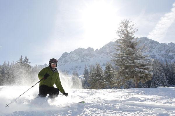 Ein Skifahrer fährt rasant eine Piste hinunter. Im Hintergrund weißes Gebirge.