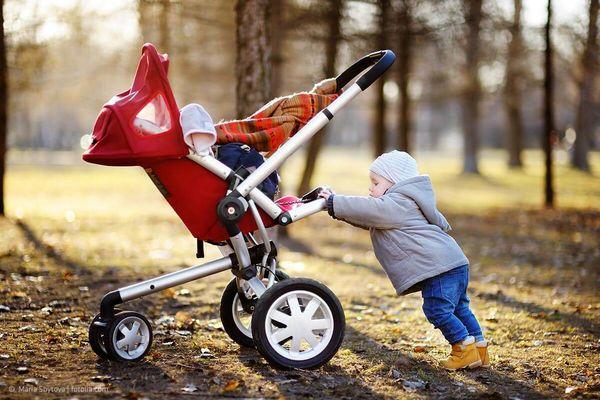 Kind mit Kinderwagen im Wald
