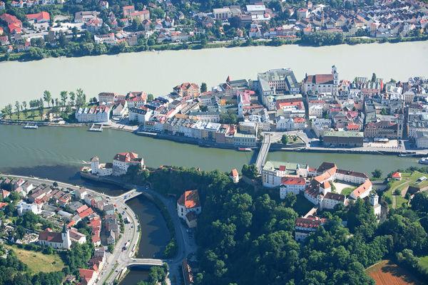 Blick auf die Drei-Flüsse-Stadt Passau