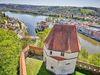 Blick auf den Zusammenfluss der drei Flüsse Donau, Inn und Ilz in Passau